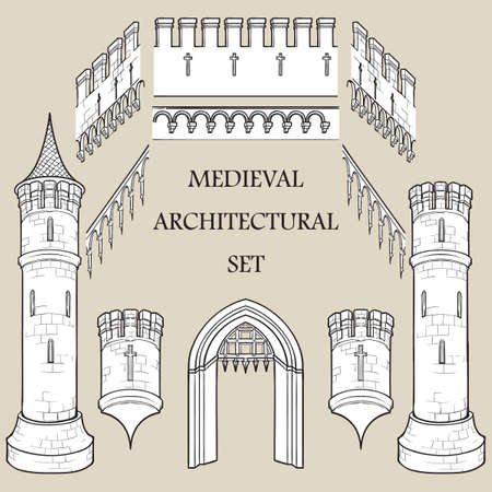 Set of the Medieval Castle architectural elements. Defencive structures. Towers, battlements, gates. Designers kit. EPS10 vector illustration Stock fotó - 121509101