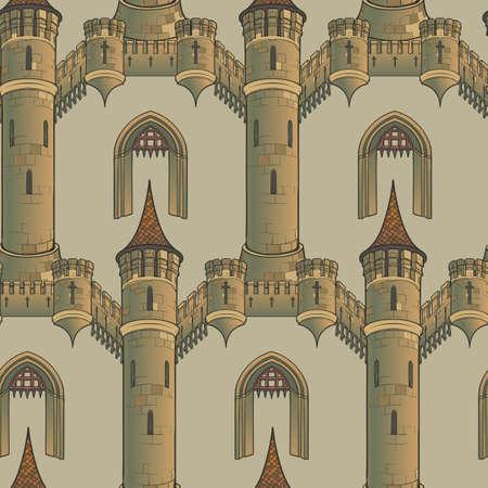 Mittelalterliche Stadtarchitektur. Nahtloses Muster im Stil eines mittelalterlichen Wandteppichs oder eines illuminierten Manuskripts. EPS10-Vektorillustration Vektorgrafik