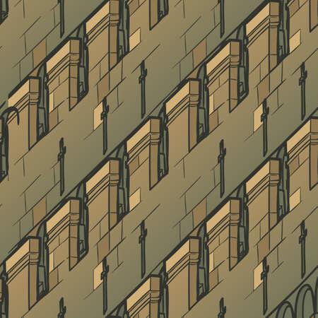 Mittelalterliche architektonische Elemente. Nahtloses Muster im Stil eines mittelalterlichen Wandteppichs oder eines illuminierten Manuskripts. EPS10-Vektorillustration