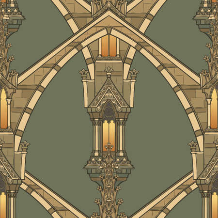 Elementos arquitectónicos medievales. Patrón sin costuras en un estilo de tapiz medieval o manuscrito iluminado. Ilustración vectorial EPS10