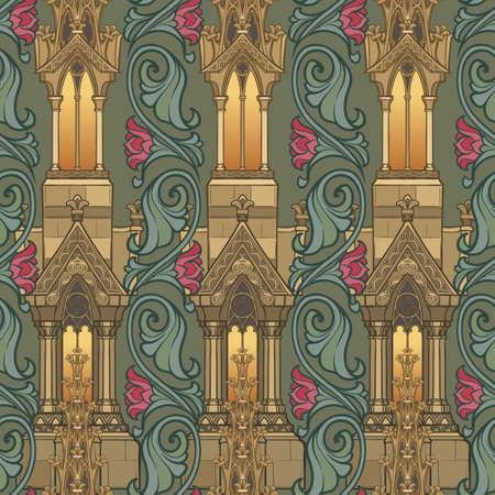 Elementi architettonici medievali. Modello senza cuciture nello stile di un arazzo medievale o di un manoscritto illuminato. Illustrazione vettoriale EPS10 Vettoriali