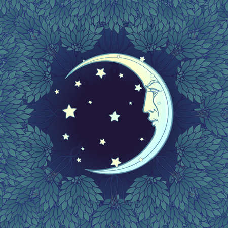 Decorative composition with stylized human faced moon and stars. Medieval gothic style seamless pattern. EPS10 vector illustration Ilustração