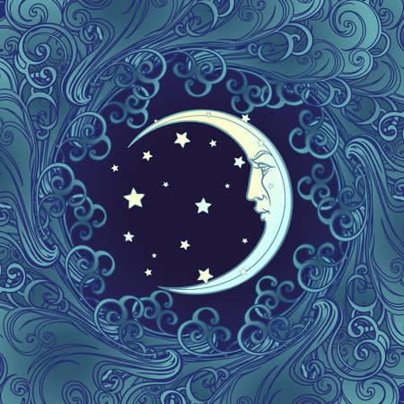 Composizione decorativa con luna e stelle di fronte umane stilizzate. Modello senza cuciture in stile gotico medievale. Illustrazione vettoriale EPS10