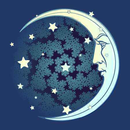 Decorative composition with stylized human faced moon and stars. Medieval gothic stylepicture. EPS10 vector illustration