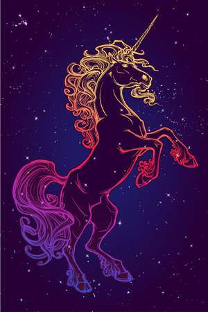 Rearing up Unicorn. Fantasy concept art for tattoo, logo. Colour drawing isolated on starry night sky background. EPS10 vector illustration.