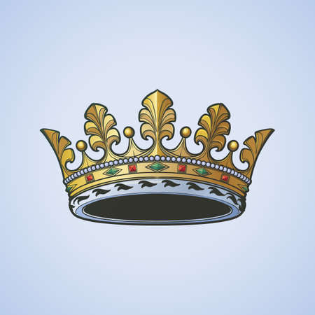 Filigree high detailed ducal crown. Element for design logo, emblem and tattoo. Vector illustration isolated on white background Coloring book for kids and adults. EPS10 vector illustration