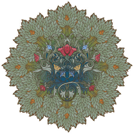 Decorative flower composition with stylized red poppies and bluebells. Medieval gothic style. EPS10 vector illustration