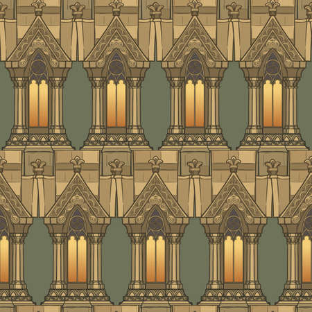 Medieval architectual elements. Seamless pattern in a style of a medieval tapestry or illuminated manuscript. EPS10 vector illustration Ilustrace