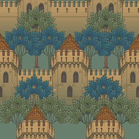 Medieval city architecture. Seamless pattern in a style of a medieval tapestry or illuminated manuscript. EPS10 vector illustration