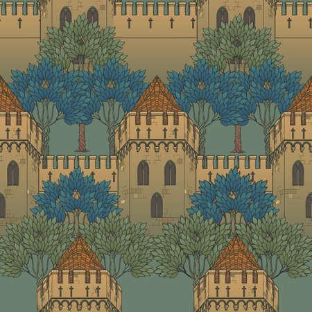 Mittelalterliche Stadtarchitektur. Nahtloses Muster im Stil eines mittelalterlichen Wandteppichs oder eines illuminierten Manuskripts. EPS10-Vektorillustration