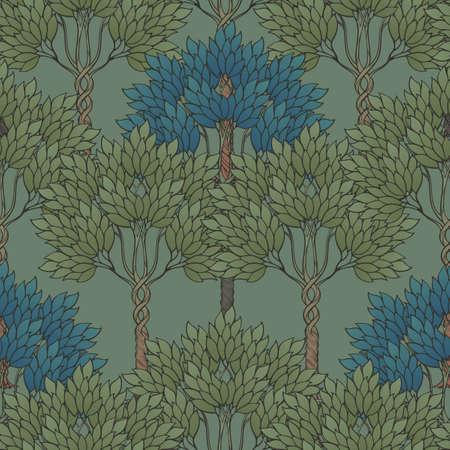 Composición de flores decorativas con amapolas rojas estilizadas y campanillas. Patrón sin costuras de estilo gótico medieval. Ilustración vectorial EPS10