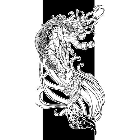 Triton saving a drowning fisherman. Gender reversed story about a little mermaid. Concept illustration. Black and white drawing isolated on black background. EPS10 vector illustration Vectores