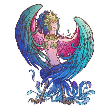 Sirin - halb Frau, halb Vogel in russischen Mythen und Märchen. Singen und lachen. Komplizierte lineare Zeichnung lokalisiert auf weißem Hintergrund. Tattoo Design. EPS10 Vektorzeichnung.