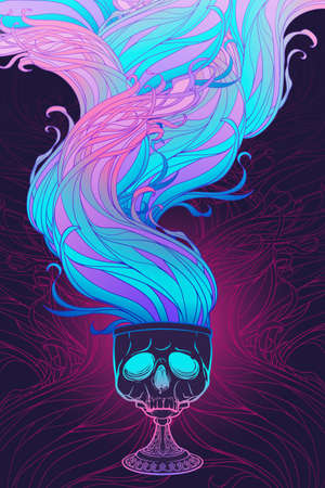 Skull made goblet with wavy vapor flow. Concept art for tattoo, tarot cards or occultism related project. EPS10 vector illustration