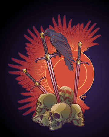 Allegory of war. Human skulls, swords and Crow. Conceptual art, tattoo or tarot card design. EPS10 vector illustration Illustration