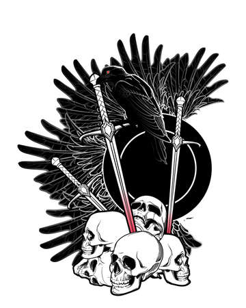 Allegory of war. Human skulls, swords and Crow. Conceptual art, tattoo or tarot card design. Black and white drawing. EPS10 vector illustration Ilustração