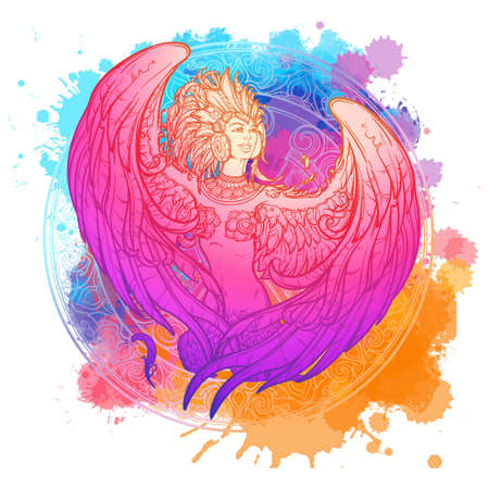 Sirin - half-woman half-bird in Russian myths and fairy tales. Singing and laughing. Intricate linear drawing isolated on watercolor textured background. Tattoo design. EPS10 vector drawing. Ilustração