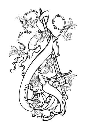 Mano che tiene una spada decorata con ghirlanda di rose e stendardo. Disegno in bianco e nero isolato su priorità bassa bianca. Illustrazione vettoriale EPS10 Vettoriali