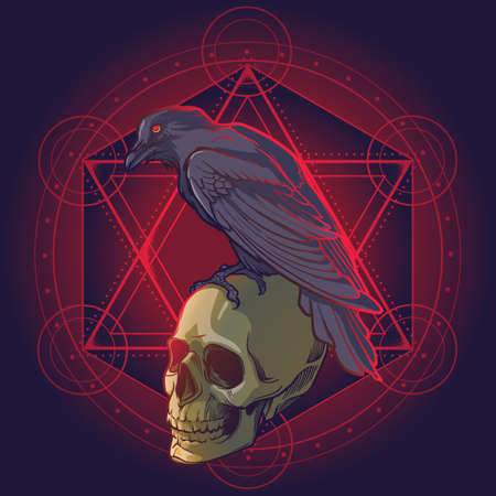 Human skulls and Crow. Solomon Star on a background. Conceptual art, tattoo or tarot card design. EPS10 vector illustration