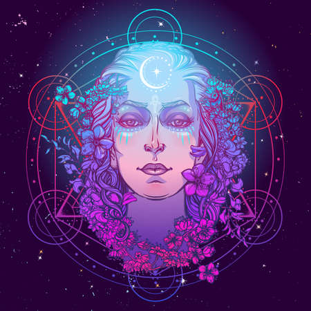 White goddess of european culture. Symbol of femininity, motherhood birth and death. Known in different cultures as Persephone, Eostre, Arianrhod, Isis and others. Art Print. EPS10 vector illustration