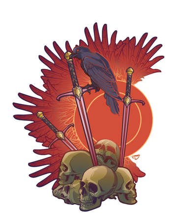 Allegory of war. Human skulls, swords and Crow. Conceptual art, tattoo or tarot card design. EPS10 vector illustration