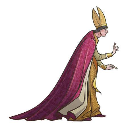 Sacerdote cattolico di alto rango con gesto di benedizione. Concept art in stile gotico medievale. Elemento di design. Disegno a colori lineare isolato su priorità bassa bianca. Illustrazione vettoriale EPS10