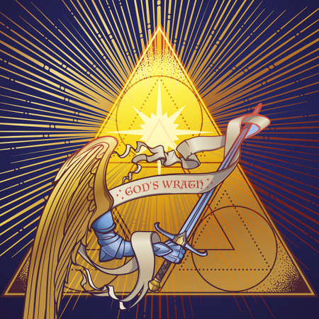 Archangel Michaels arm in armor holding a sword on a golden triangle with light beams radiating behind. Retributiuon for sins. Medieval gothic style concept art. Brightly colored drawing. EPS10 vector
