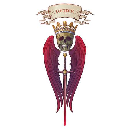 Lucifero l'angelo folle. Concept art in stile gotico medievale. Elemento di design. Disegno dai colori vivaci. EPS10 vettoriale