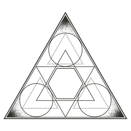 Triangle with encompassed circles. Multicultural symbol representing trinity, God, elements among other many meanings. Line drawing isolated on whitet background. Tattoo design. EPS10 vector