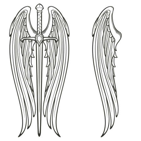 Sword and angel wings. Retributiuon for sins. Medieval gothic style concept art. Black and white isolated sketch. EPS10 vector