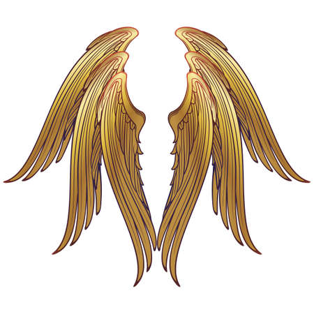 6 winged seraphim wings template. Medieval gothic style concept art. Design element. Brightly colored drawing. Medieval Manuscript pallette. EPS10 vector Vetores