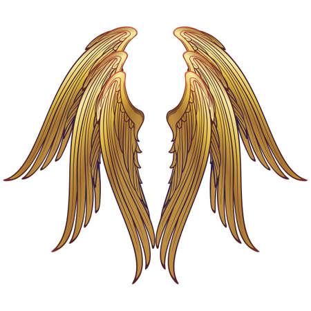 Modello di 6 ali di serafino alato. Concept art in stile gotico medievale. Elemento di design. Disegno dai colori vivaci. Pallet manoscritti medievali. EPS10 vettoriale Vettoriali