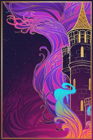Brennender Turm. Fantasiekonzeptzeichnung. Fantasiehintergrund, Textildruck oder Grußkarte. Vertikale Ausrichtung. EPS10-Vektorillustration