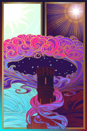 Tower of dreams at the edge of day and night. Fantasy concept drawing. Fantasy background, textile print or greeting card. Vertical orientation. EPS10 vector illustration Ilustração