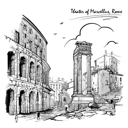 Theater of Marcellus and portico of Octavia in Rome, Italy. Engraving style sketch.