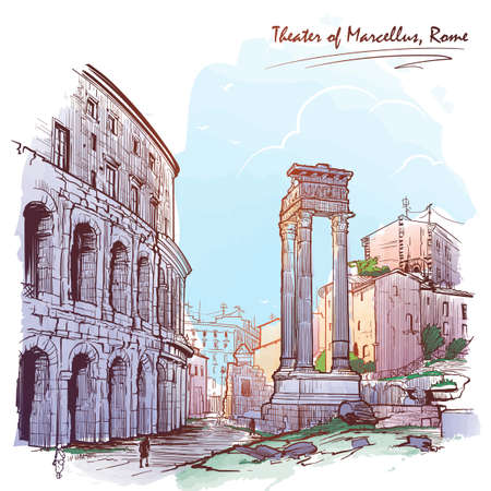 Theater of Marcellus and portico of Octavia in Rome, Italy. Painted sketch. Vintage design.