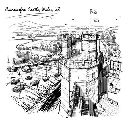 Caernarfon Castle, North Wales, UK, with a magnificent panorama of Snowdonia behind. Engraving style sketch. Vintage design.