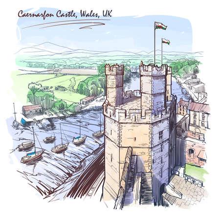 Caernarfon Castle, North Wales, UK, with a magnificent panorama of Snowdonia behind. Painted sketch. Vintage design. Ilustração