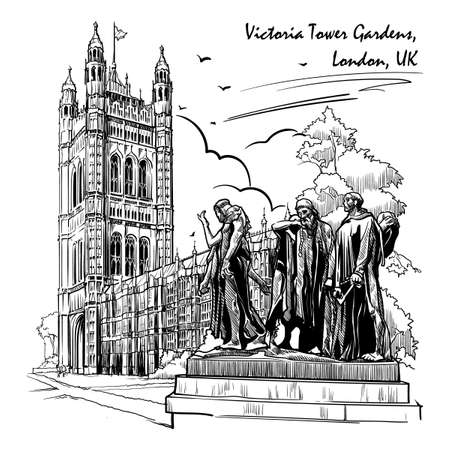 Citizens of Calais statue with the Victoria Tower and the Houses of Parliament behind. Westminster, London, UK. Engraving style sketch. Vintage design. Travel sketchbook drawing. EPS10 vector
