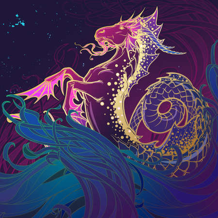 Zodiac sign Capricorn. Fantastic sea creature with body of a goat and a fish tail. Ocean waves and a starry nightsky background. Vintage art nouveau style concept art for horoscope or tattoo.