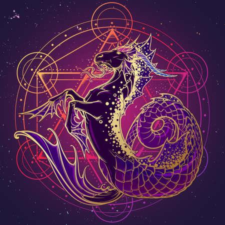 Signo zodiacal Capricornio. Fantástica criatura marina con cuerpo de cabra y cola de pez. Signo de geometría sagrada y un fondo de cielo nocturno estrellado. Arte conceptual de estilo art nouveau vintage para horóscopo o tatuaje. Ilustración de vector