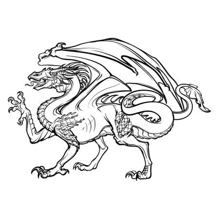 The Welsh Red Dragonisolated on white background. Design for a coloring book, tattoo, textile print or touristic collaterals.