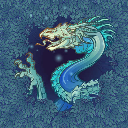 The Dragon head appearing from the lush foliage of the dark mysterious forest. Design for a tattoo, textile print or badge.