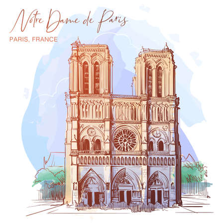 Notre Dame de Paris cathedral beautiful facade. Paris, France. Linear sketch on a watercolor textured background. Vintage design. Travel sketchbook drawing. EPS10 vector illustration