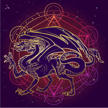 Dragon. Mythilogical winged creature. Sacred geometry sign and a starry nightsky background. Vintage art nouveau style concept art for horoscope or tattoo.