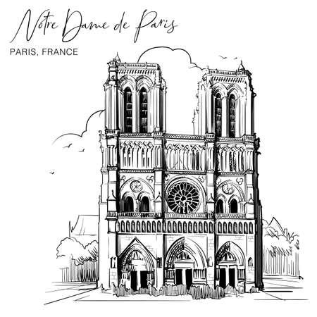 Catedral de Notre Dame de París hermosa fachada. París, Francia. Dibujo lineal sobre un fondo con textura de acuarela. Diseño vintage. Dibujo de cuaderno de viaje. Ilustración vectorial EPS10