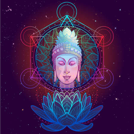 Buddhas head with a sacred om symbol glowing on his forehead. Anahata chakra drawing on a background. EPS10 vector illustration