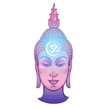 Buddhas head with a sacred om symbol glowing on his forehead. Intricate hand drawing isolated on a white background EPS10 vector illustration Ilustração