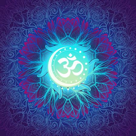 Om a Sacred mantra and a symbol of Hinduism. Decorative floral background. EPS10 vector illustration Ilustração
