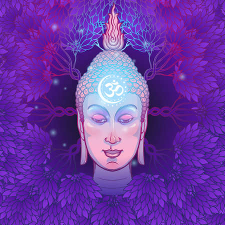 Buddhas head with a sacred om symbol glowing on his forehead. Placed on the decorative deep purple background with leaves and trees. EPS10 vector illustration